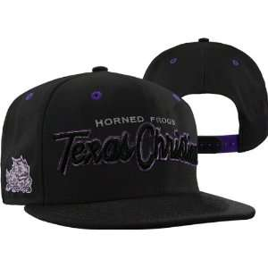 TCU Horned Frogs Black Headliner Black Snapback Adjustable Hat