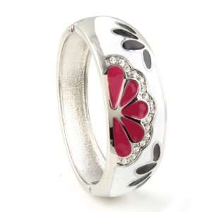 Fashion Hinge Bangle   Pink & Black flowers with Clear