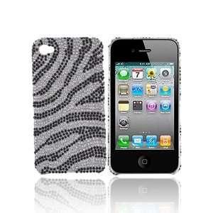 For Verizon Apple iPhone 4 Bling Hard Case ZEBRA SILVER