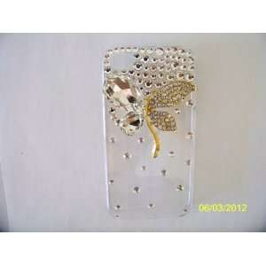 iPhone 4 4s Case Glittering Crystal and Gold Flower Design