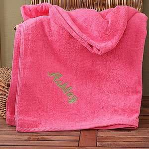 Personalized Pink Cotton Beach Towel: Home & Kitchen