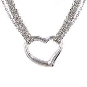 10K White Gold Multi Strand Heart Necklace 17 Jewelry