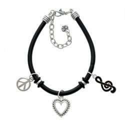 Black Clef Note Black Peace Love Charm Bracelet [Jewelry] Jewelry