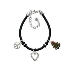 Gingerbread Girl Silver Plated Black Rubber Peace Love