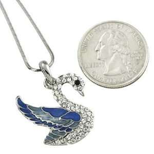 Gorgeous Enameled Silver Plated Swan Charm Pendant Necklace Jewelry