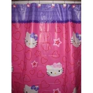 Kitty Shower Curtain & Shower Hooks Peva Shower Curtain 70x72in Pink
