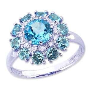 14K White Gold Floral Burst Gemstone and Diamond Ring Swiss Blue Topaz