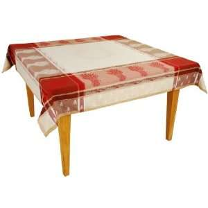 Red/Natural Jacquard Woven Cotton Tablecloth 63 x 78