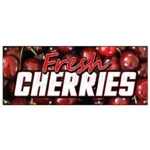 36x96 FRESH CHERRIES BANNER SIGN cherry fresh fruit