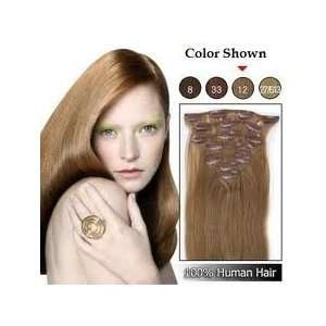 26 8 Pieces 120 Grams Clip in Extensions Real Hair #12 Lightest Brown