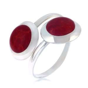 Sterling Silver Red Coral Round Shaped Double Heads Finger