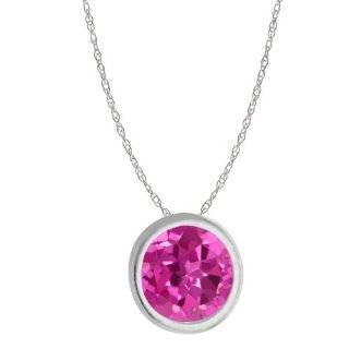 0.42 Ct Round 14K White Gold 4mm Red Ruby Pendant 18 Jewelry