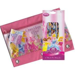 Disney Princess Zippered Pencil Case Pouch for 3 Ring