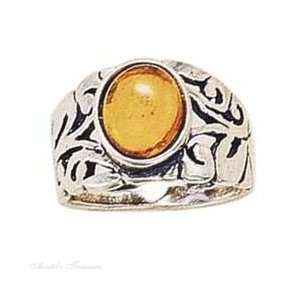 Sterling Silver Open Filigree Honey Cognac Amber Ring Size 5 Jewelry