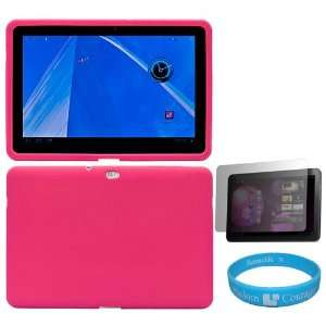 Pink Silicone Skin Cover for Samsung Galaxy Tab 10.1 inch Tablet fits
