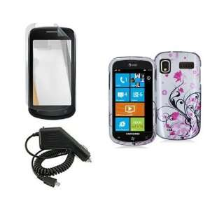 SAMSUNG FOCUS i917 PINK FLOWER CASE, RAPID CAR CHARGER, LCD SCREEN