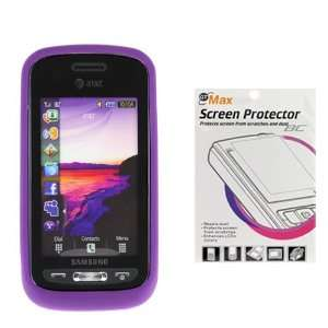 Silicone Skin Soft Cover Case + LCD Screen Protector for ATT Samsung