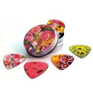 Flowers Premium Guitar Picks x 5 With Tin Musical Instruments