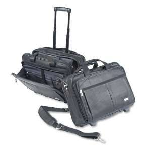 SOLO  Rolling Notebook Computer Case, Leather, 17 x 8 x 13 1/2, Black