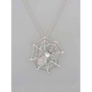Fashion Jewelry ~ Silvertone Large Spiderweb Pendant with