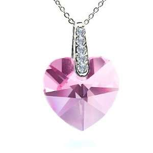 925 Sterling Silver Genuine 1inch Baby Pink Crystal Heart by Swarovski