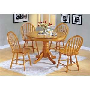 Finish Wood Round Dining Table +4 Windsor Chair Set Furniture & Decor