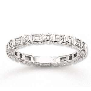 14k White Gold 2/5 Carat Diamond Antique Style Stackable