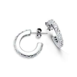 Solid 925 Sterling Silver Round White CZ Hoop Earrings Jewelry