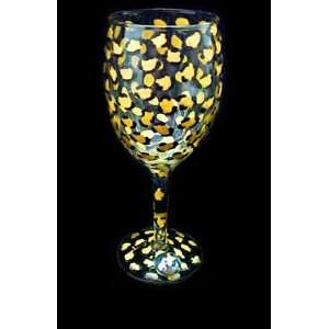 Gold Leopard Design   Hand Painted   Wine Glass   8 oz.
