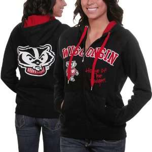 NCAA Wisconsin Badgers Ladies Black Track Meet Full Zip