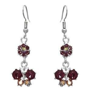 Virtuous Silver Pink Crystal Hook Earrings Jewelry