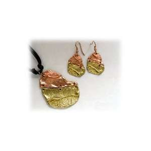 Anju Gold and Copper Hinged Necklace & Earrings Set A927C