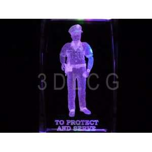 Policeman To Protect and Serve 3D Laser Etched Crystal