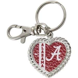 NCAA Alabama Crimson Tide Silvertone Heart Keychain