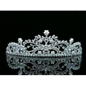 Wedding Bridal Crystal Pearl Flower Tiara Crown Beauty