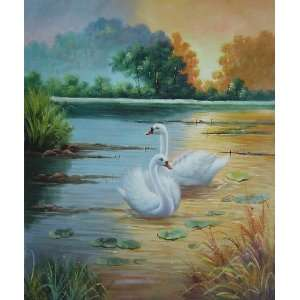 Pair of Swans at Beautiful Lotus Pond at Sunset Oil Painting 24 x 20