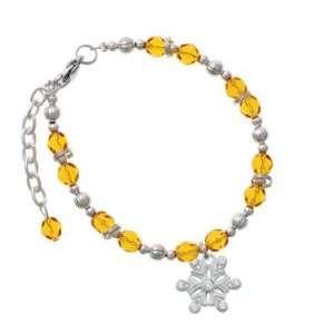 with 7 Clear Swarovski Crystals Yellow Czech Glass Beaded Charm Bra