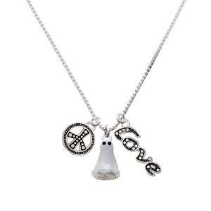 Silver Ghost with Black Swarovski Crystals, Peace, Love Charm