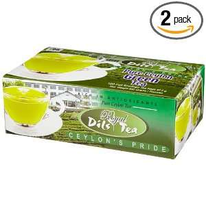 Dils Royal Tea, Pure Ceylon Green Tea, 100 Count Foil Envelopes (Pack