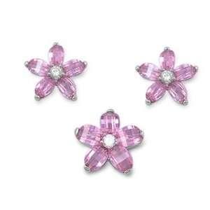 Sterling Silver & Pink CZ Prairie Rose Flower Earring