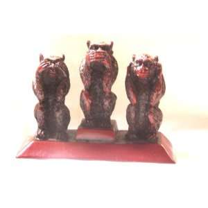 Hear No Evil, Speak No Evil,see No Evil Red Resin Monkey