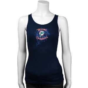 Miami Dolphins Ladies Navy Blue Playtime Tank Top: Sports