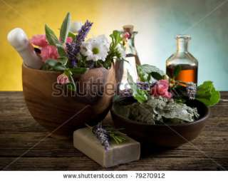 Natural Herbal Products Spa Cosmetics Stock Photo 79270912