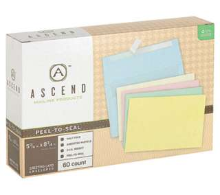 Ascend Recycled Assorted Pastels Peel N Seal Greeting Card Envelopes