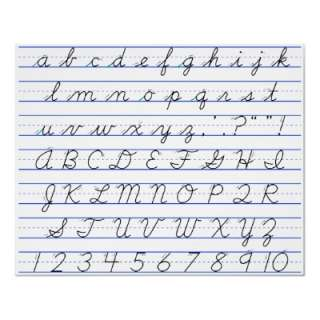 English Alphabet Diagram in Cursive Handwriting Print from Zazzle