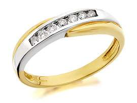 9ct Two Colour Gold And Diamond Half Eternity Ring 15pts   048045