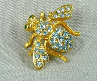 Joan Rivers Goldtone & Crystal BEE PIN LIGHT BLUE with Green Eyes