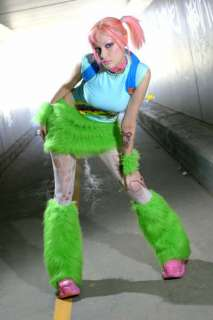 LIME green Furry Leg Warmers Cyber Goth Fluffies Rave