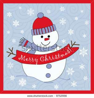 Cute Snowman Wishing Merry Christmas Stock Vector 9752956