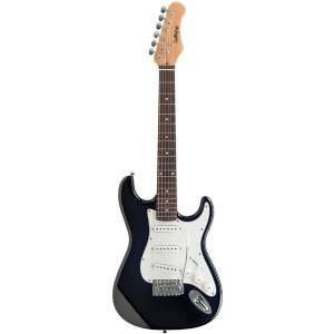Challenge CH E11134 BK 3/4 Size Black Solid Body Electric Guitar at